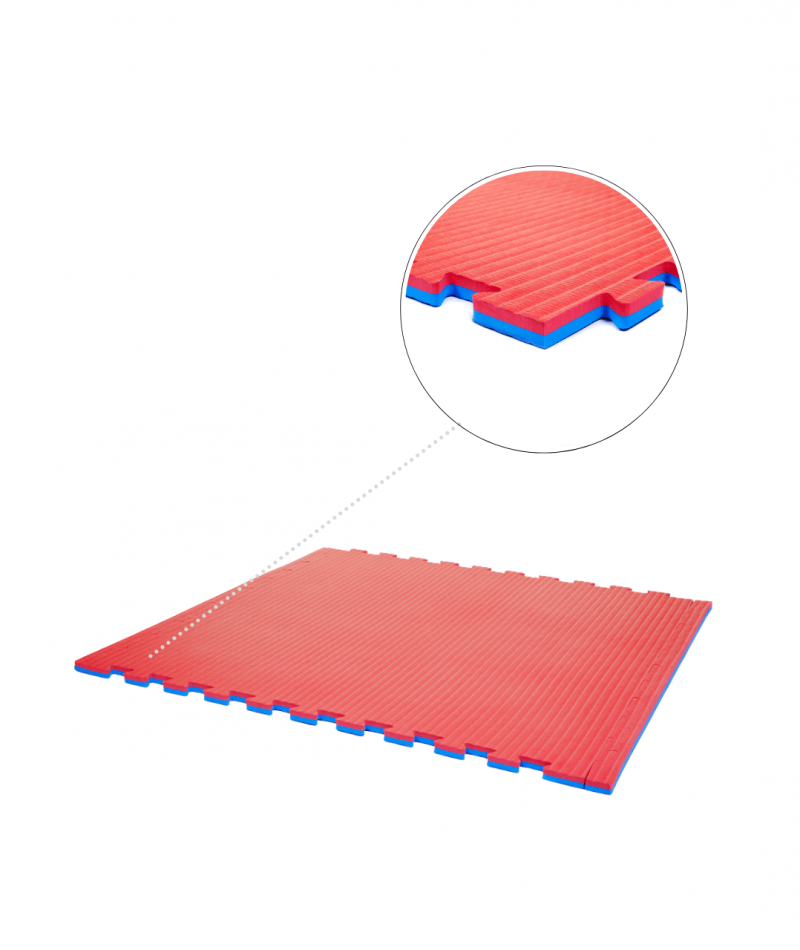 Essential 20 mm red blue exercise mats closeup image